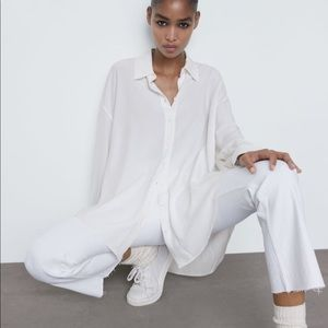 Zara Eco Fabric Flowy oversized shirt